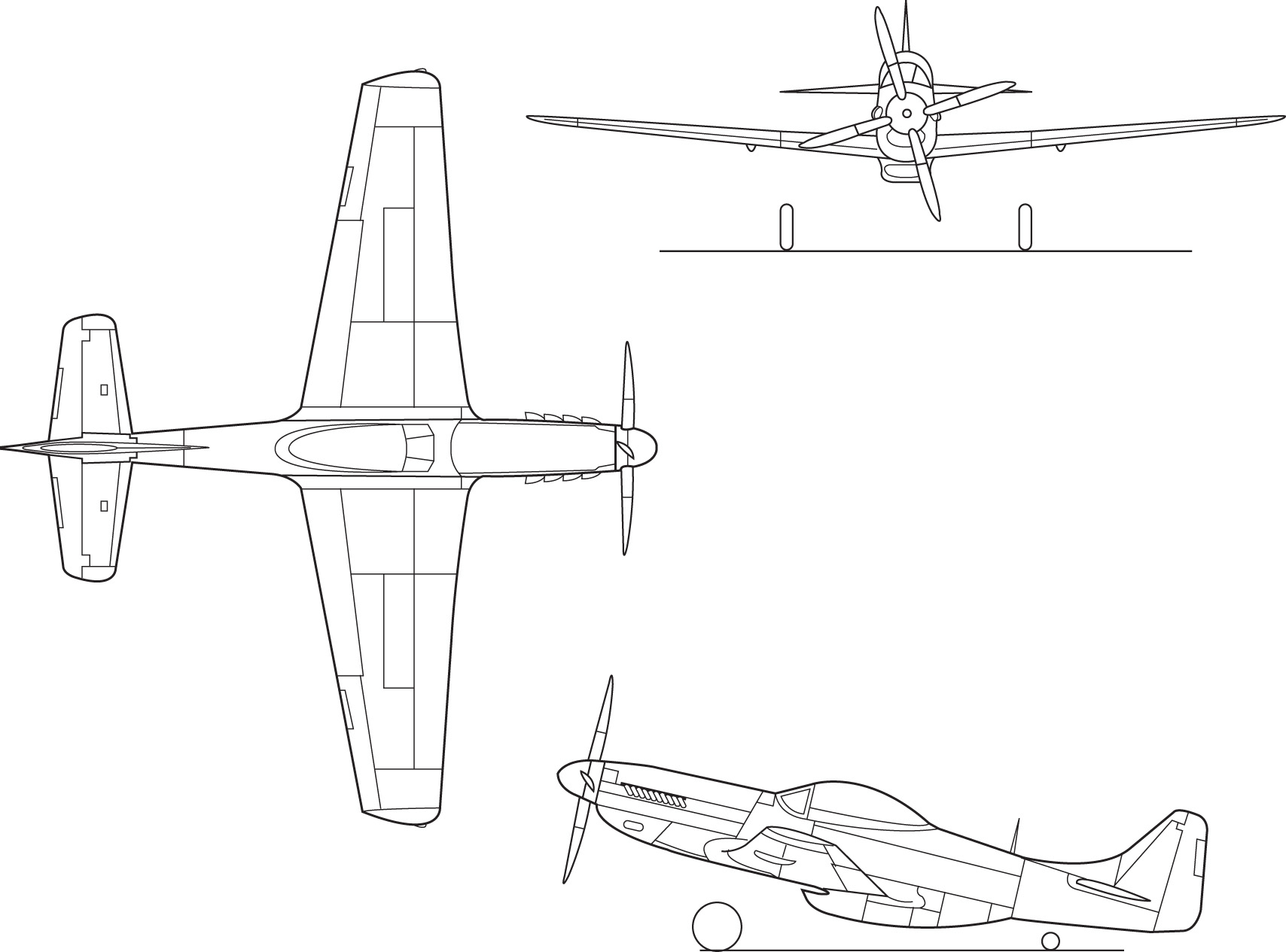 P 51 Mustang 3 View Drawings http://es.wikipedia.org/wiki/Archivo:North_American_P-51D_Mustang_line_drawing.png