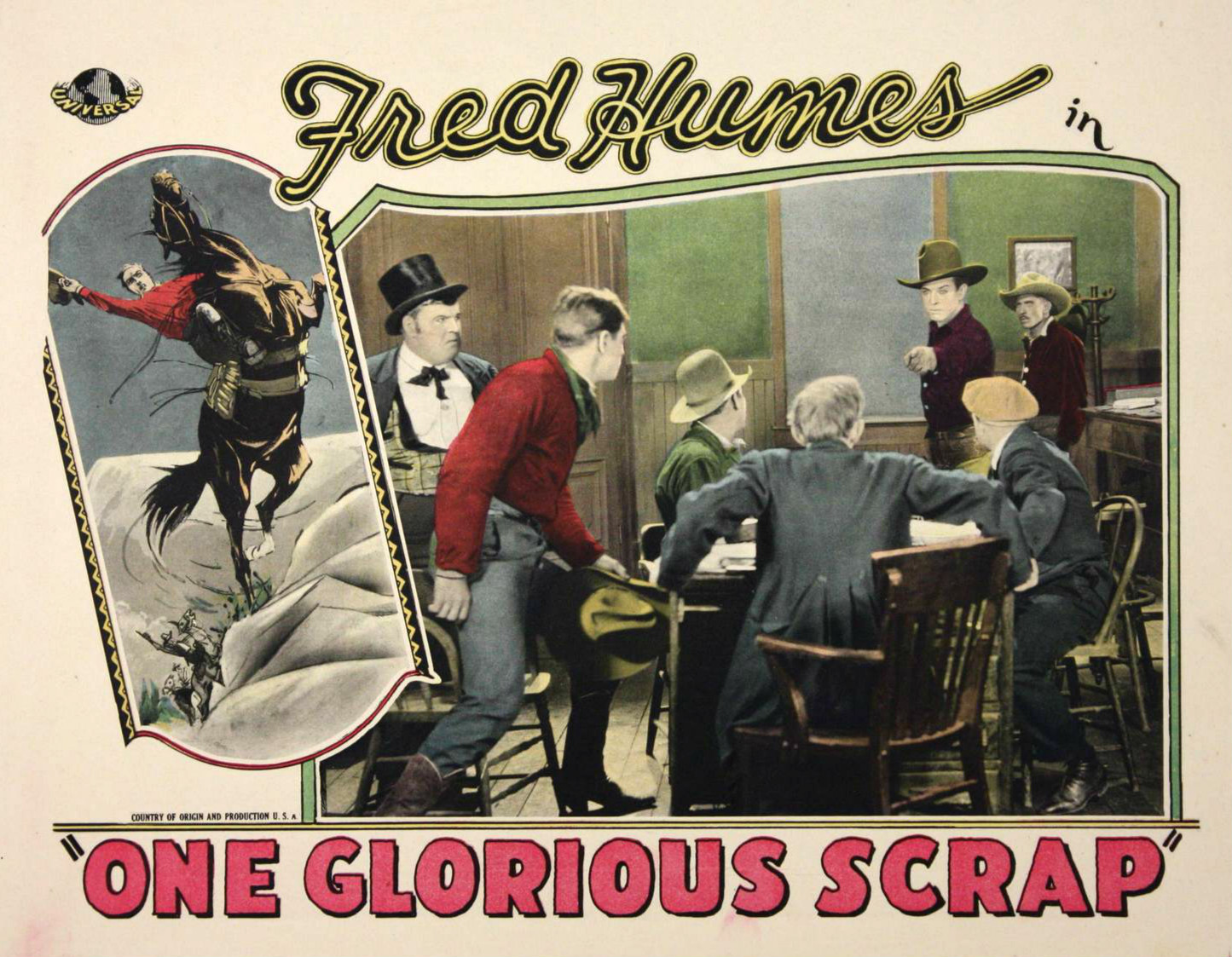 Lobby card for ''One Glorious Scrap'' (1927) with McKenzie in top hat at left