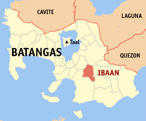 Map of Batangas showing the location of Ibaan