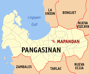Map of Pangasinan showing the location of Mapandan