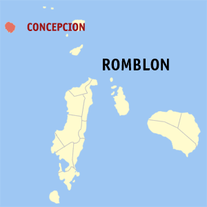 Map of Romblon showing the location of Concepcion