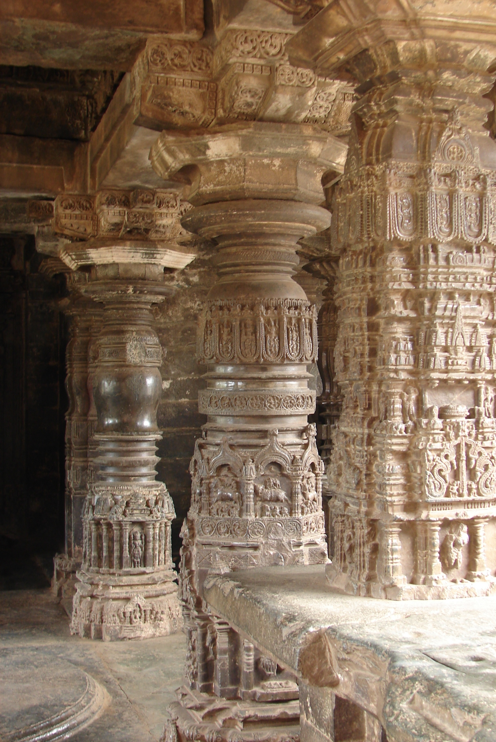 Gadag style Ornate pillars at Sarasvati Temple, Trikuteshwara temple (complex) at Gadag