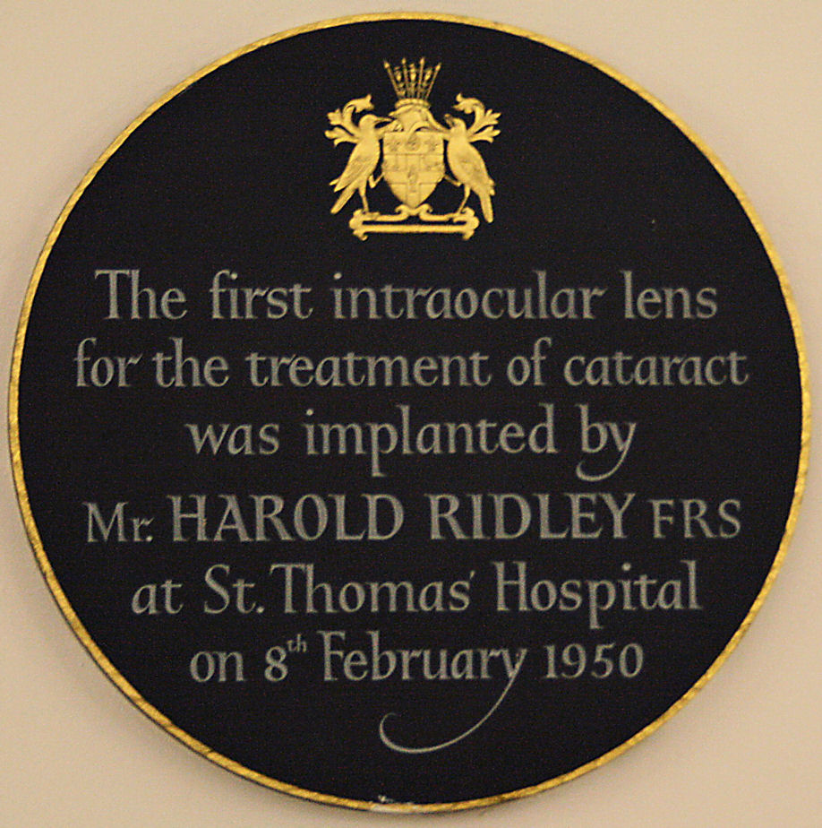 Photo of Harold Ridley and intraocular lens black plaque