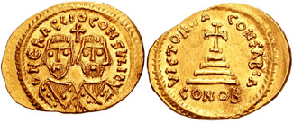 Gold solidus of Heraclius and his father in consular robes, struck during their revolt against Phocas Revolt of the Heraclii solidus, 608 AD.jpg