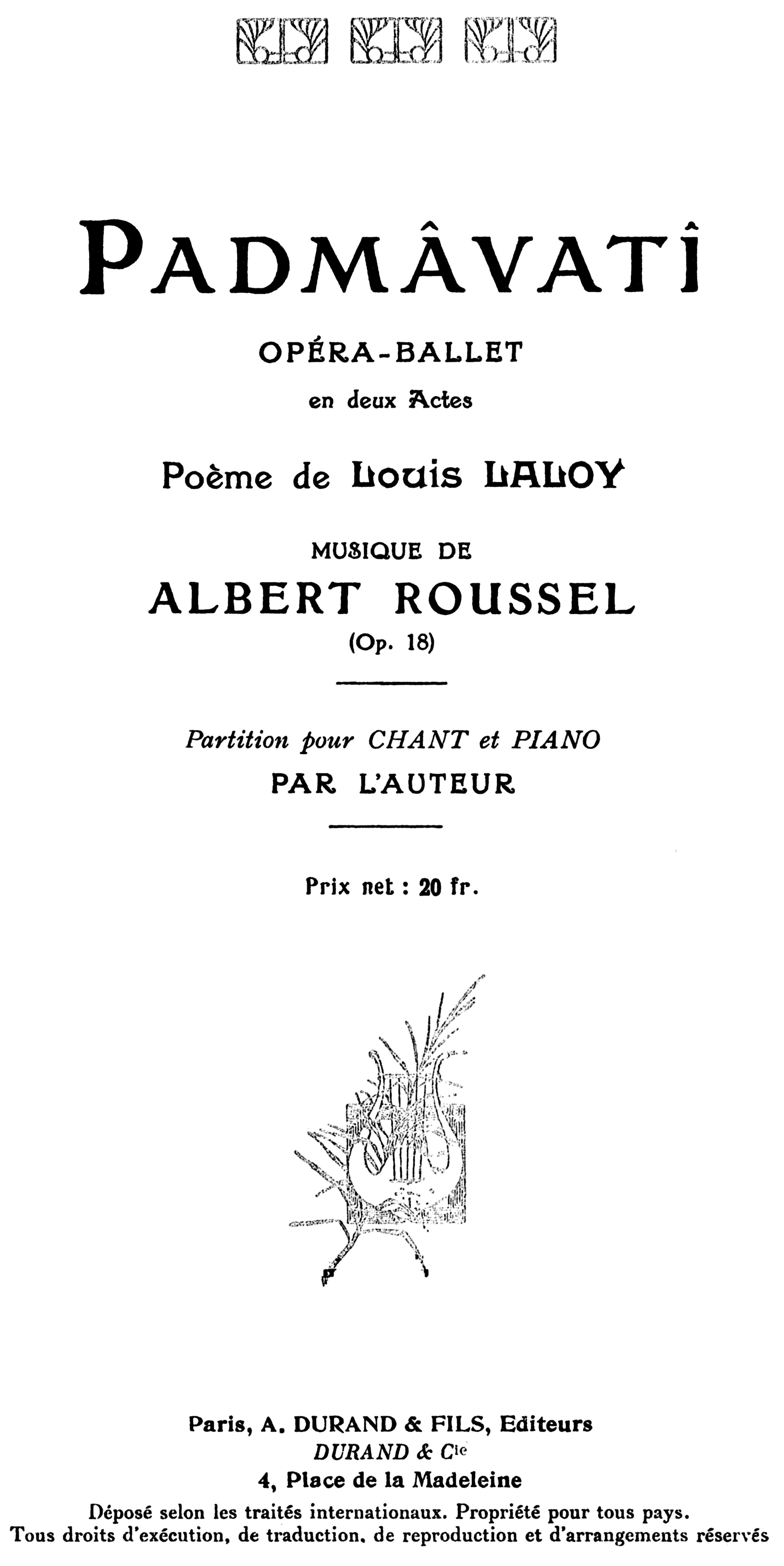 Fileroussel Padmâvatî Piano Score Paris 1919 Title
