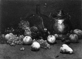 Stilleven met ketel, fles en vruchten