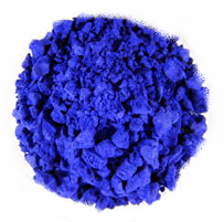 Copper(II) gives a deep blue coloration in the presence of ammonia ligands. The one used here is tetraamminecopper(II) sulfate.