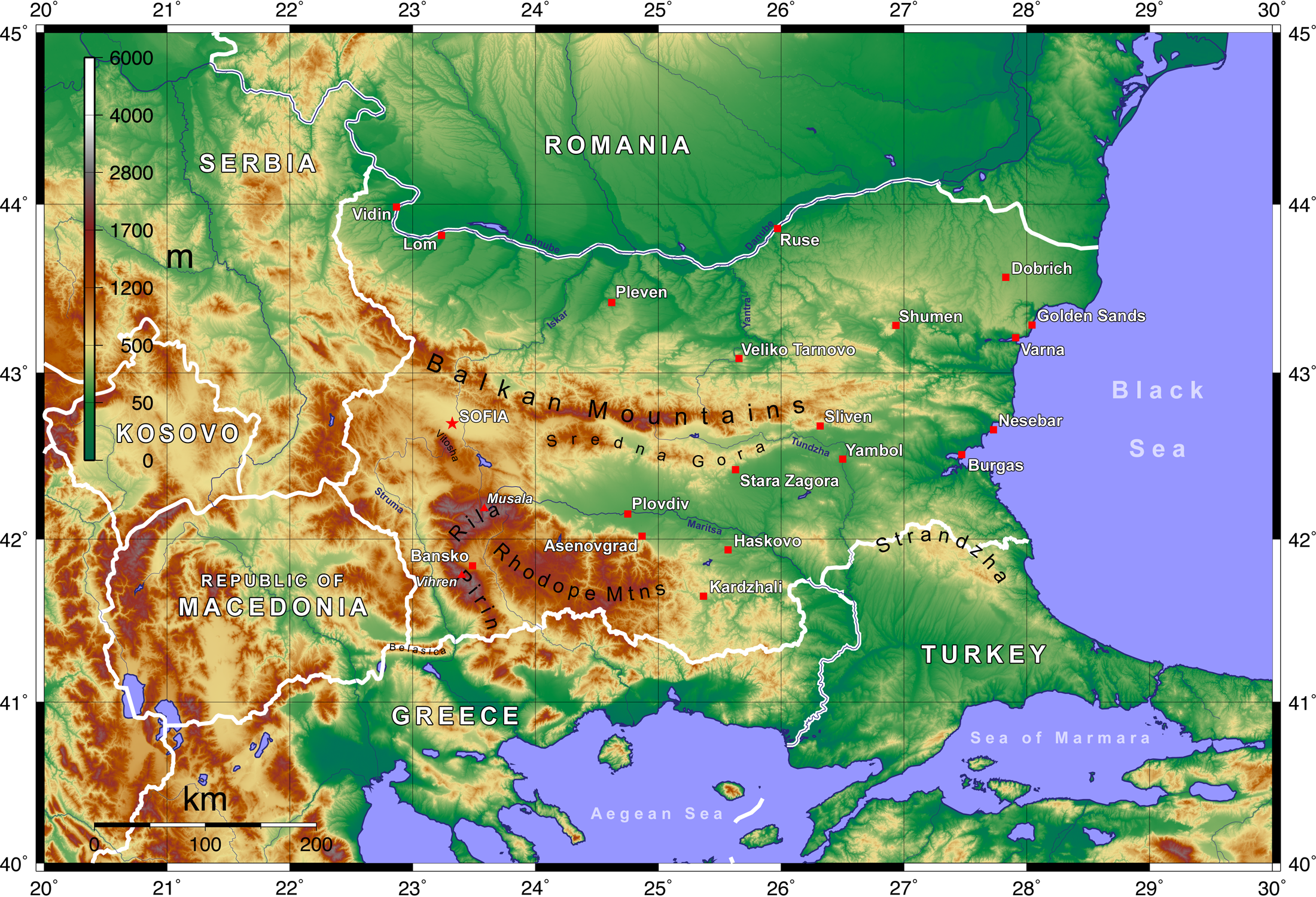 Image:Topographic Map of Bulgaria English