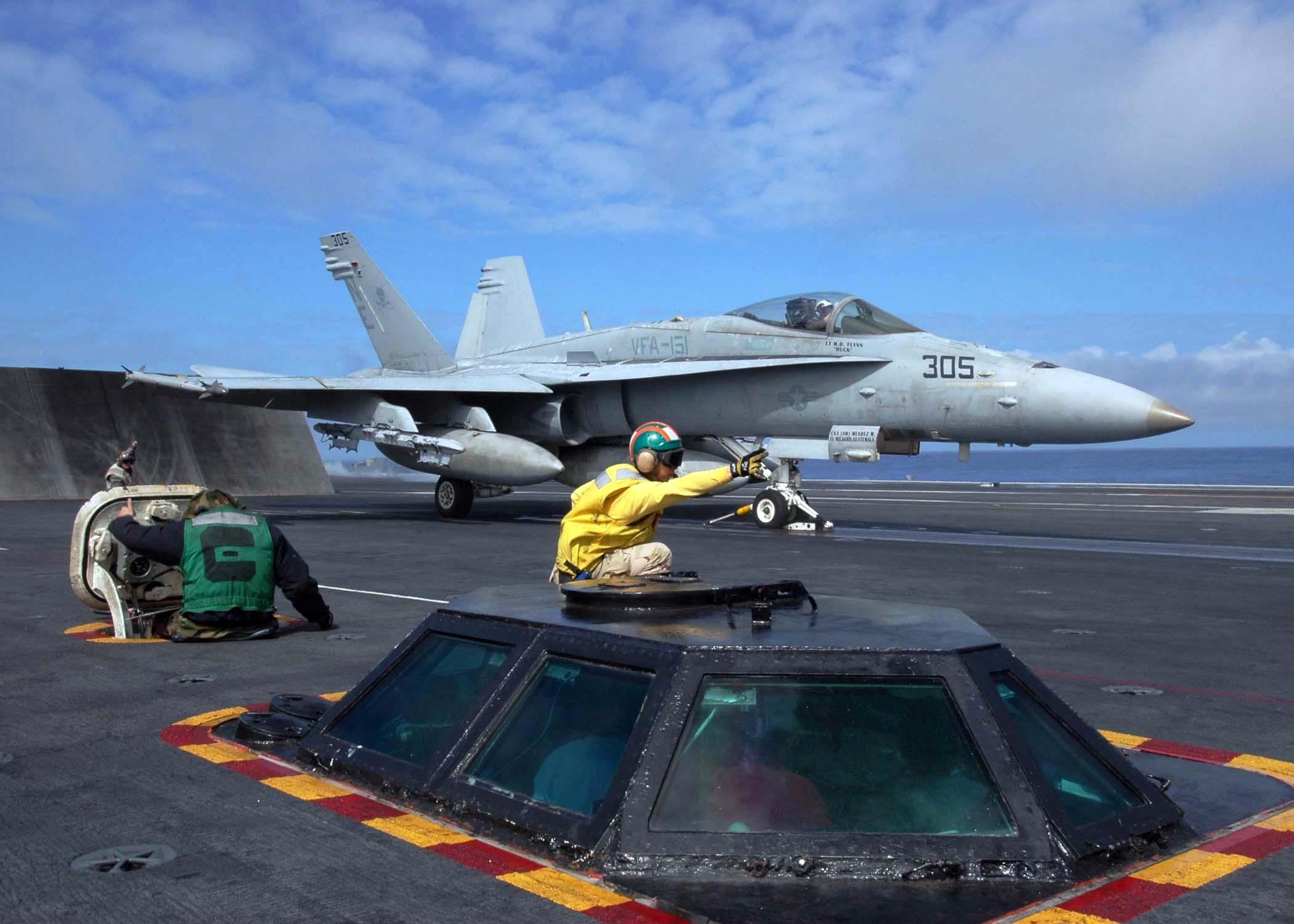 US_Navy_050228-N-1229B-052_A_catapult_shooter_signals_for_the_launch_of_an_F-A-18C_Hornet_on_the_flight_deck_aboard_the_Nimitz-class_aircraft_carrier_USS_Abraham_Lincoln_%28CVN_72%29.jpg