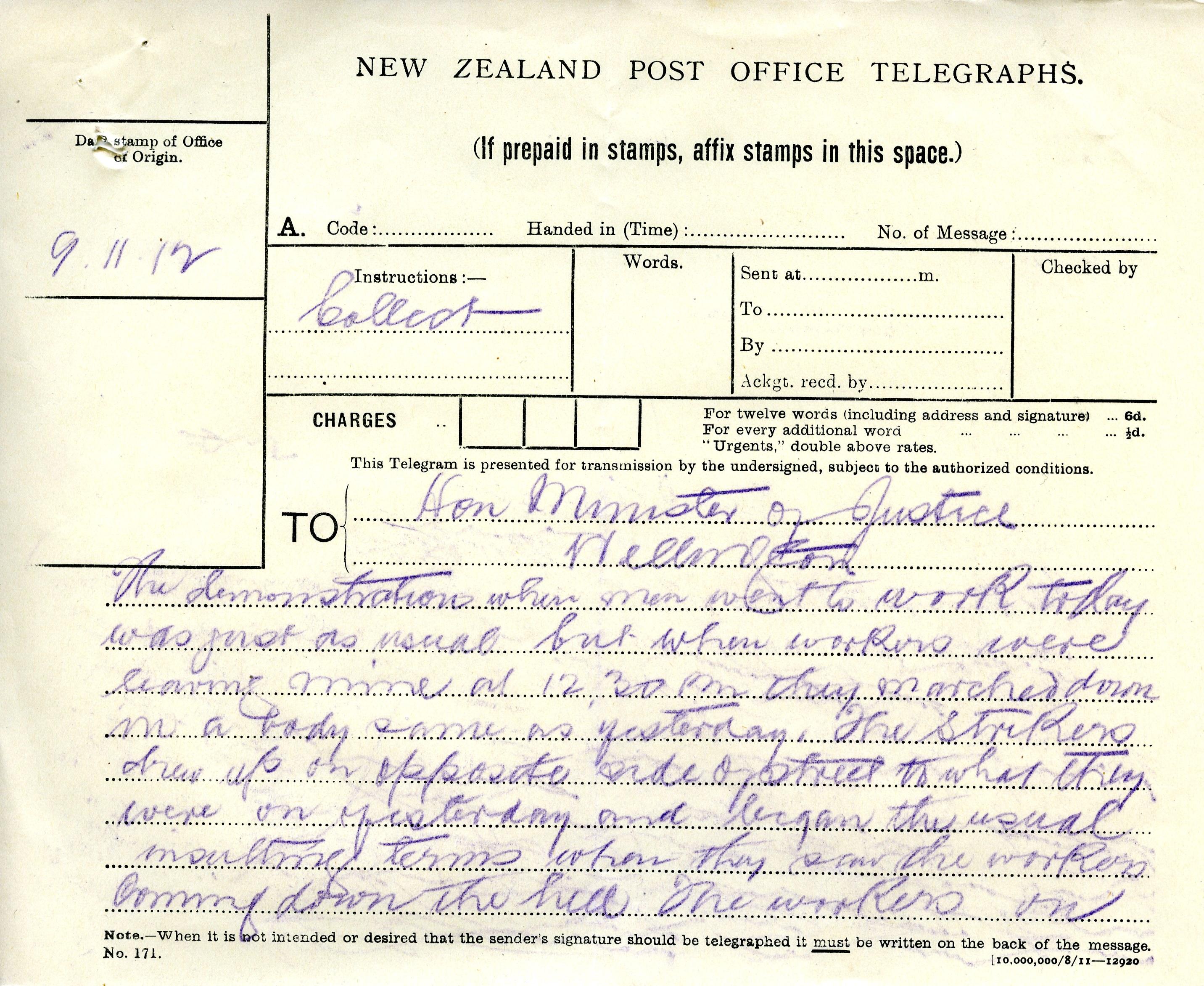 File:Waihi Strike Telegrams from Police Commissioner John