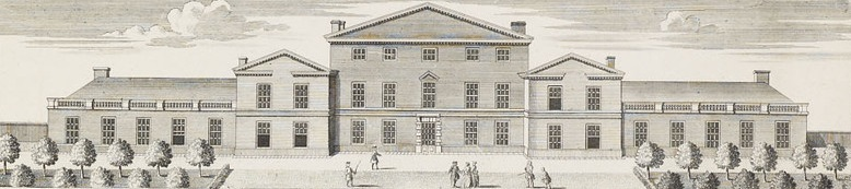 The south front of the White House after Frederick's remodelling, from John Rocque's map of Richmond Gardens, 1734 WhiteHouseAtKew.jpg