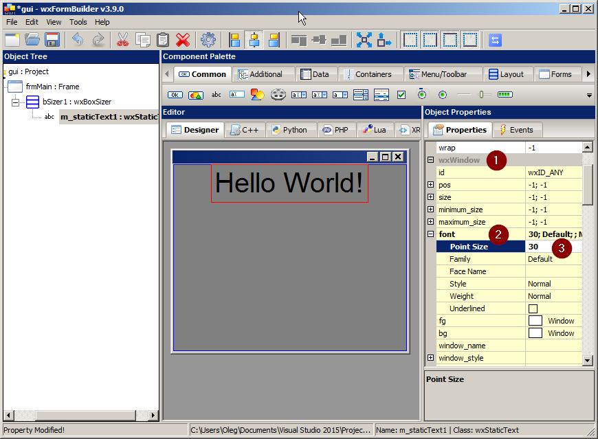 WxWidgets Hello World в Visual C++ и wxFormBuilder — Викиучебник