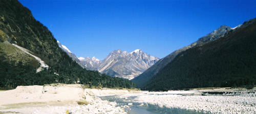 The Himalayan range at Yumesongdong in Sikkim, in the Yumthang River valley