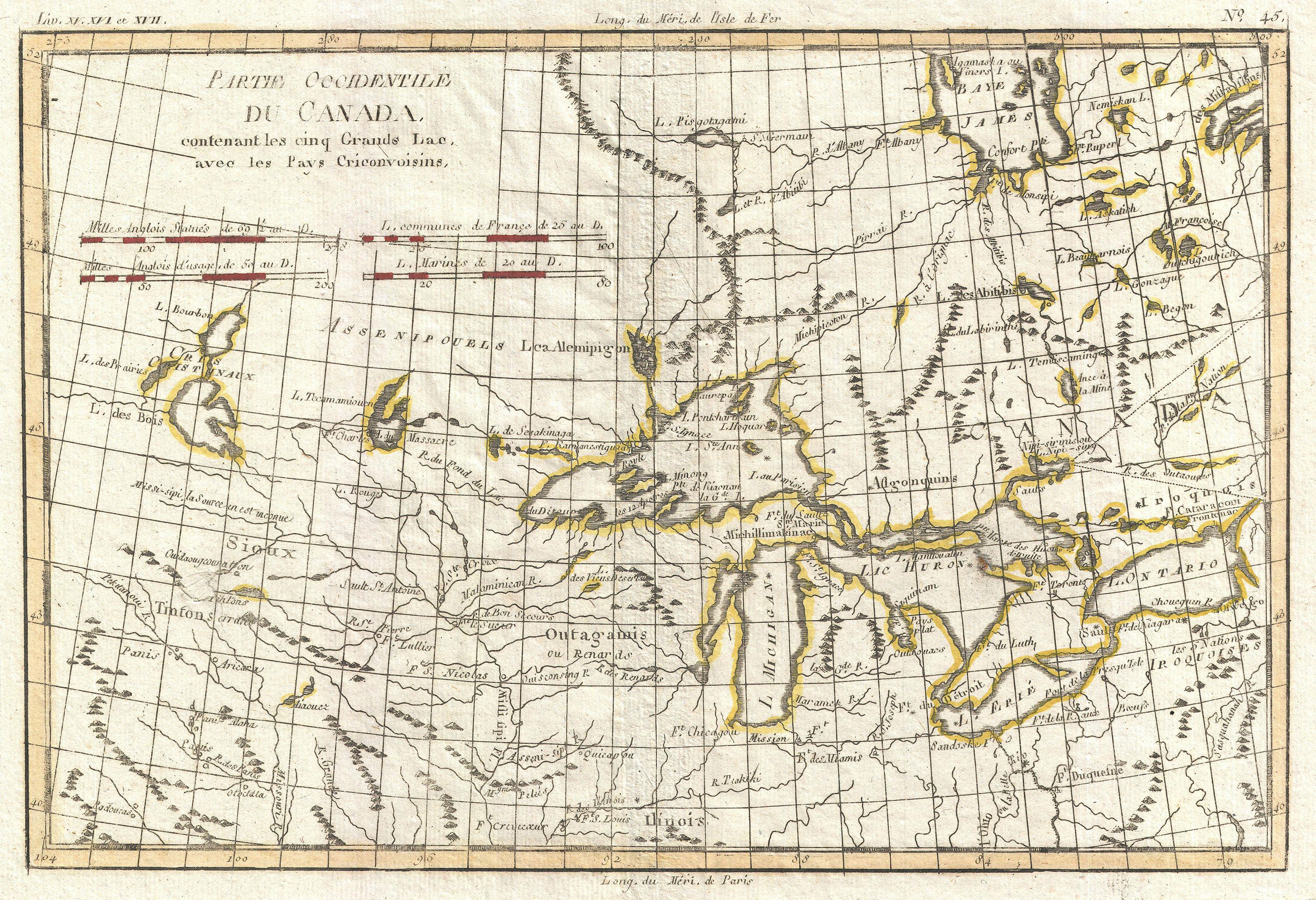 File1775 Bonne Map of the Great Lakes and Upper Mississippi