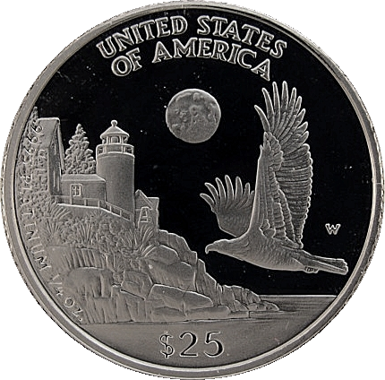 reverse side of the 1998 American Platinum Eagle proof coin