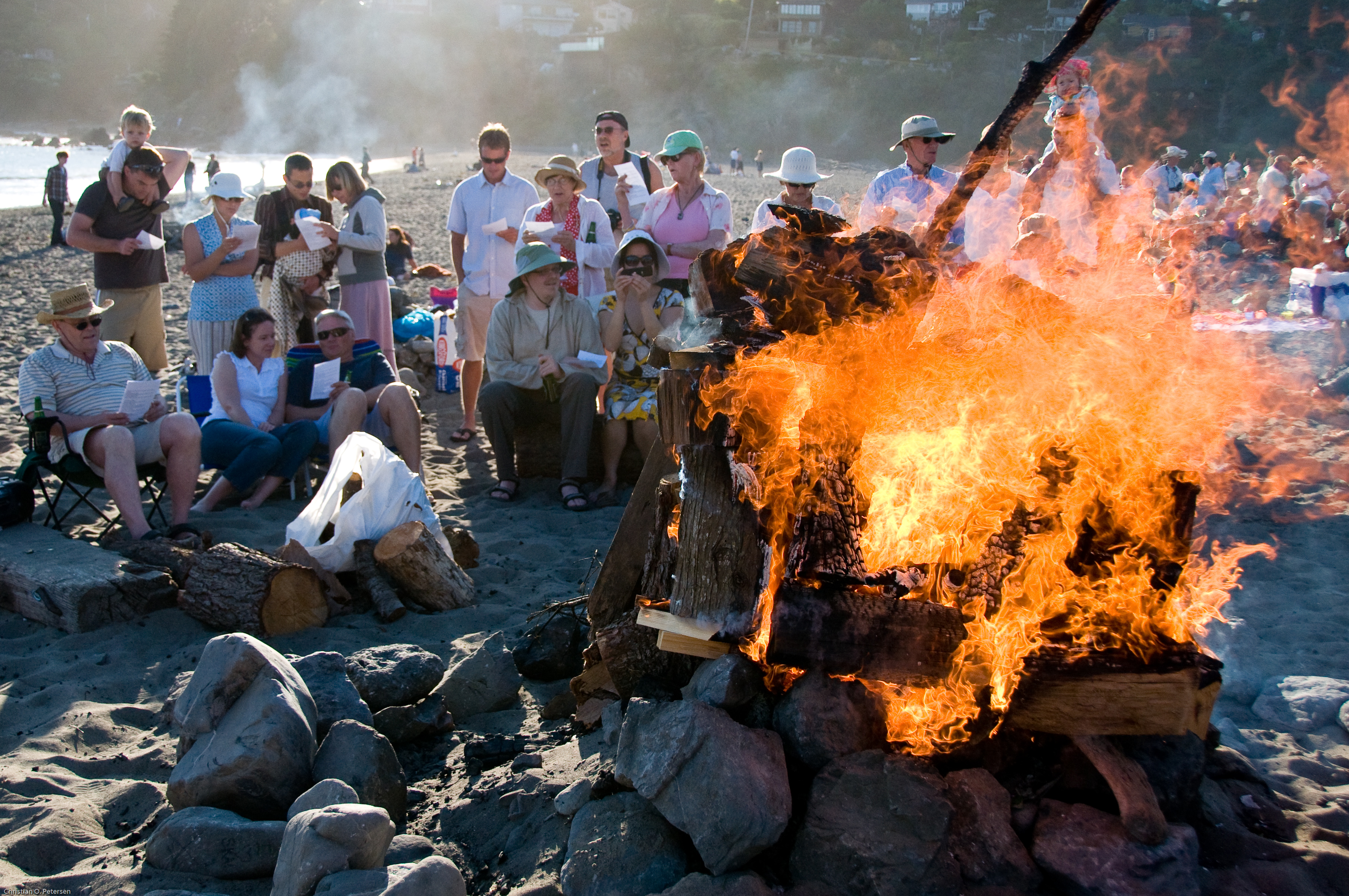 Danes celebrating Midsummer by singing the Midsummer hymn by the bonfire