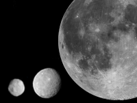 Left to right: 4 Vesta, 1 Ceres, Earth's Moon