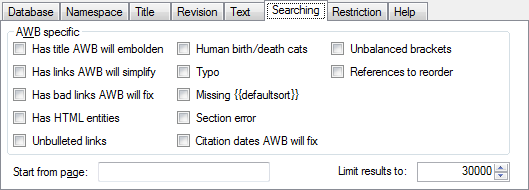 File:AWB Database scanner Searching tab png - Wikimedia Commons