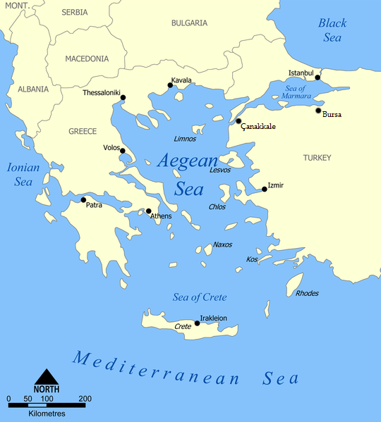 Map of the Sea of Crete Aegean Sea map.png