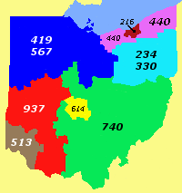 Map of Ohio's area codes By Prof611 (Own work) [CC BY-SA 3.0 (http://creativecommons.org/licenses/by-sa/3.0)], via Wikimedia Commons