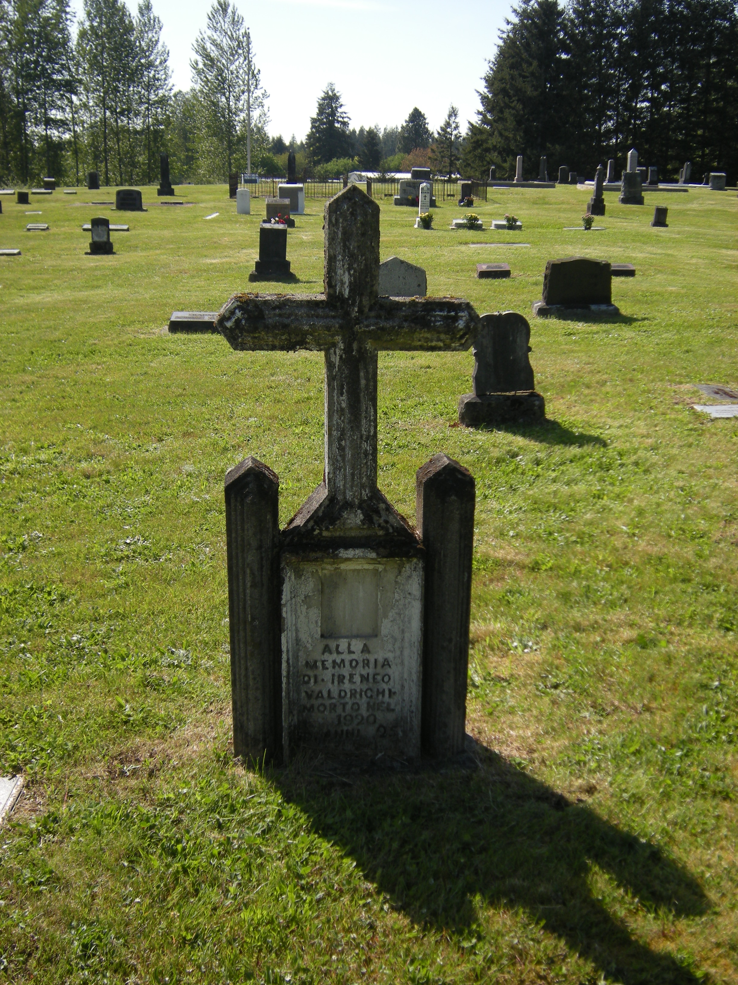 Gravestone with cross on top