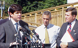 Congressman Emanuel (middle) joined Governor Blagojevich (left), and Members of Congress urging Medicare Conferees to include Reimportation language...