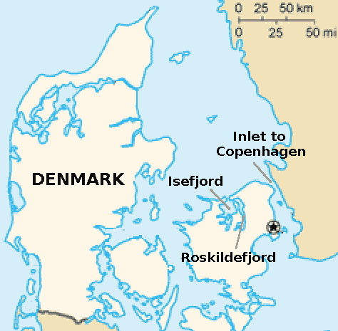 Where the Battle of Copenhagen harbour occurred in 1801, and where Roskildefjord is located. It could have been very dangerous for the British Navy to sail into the fjord, which is very narrow