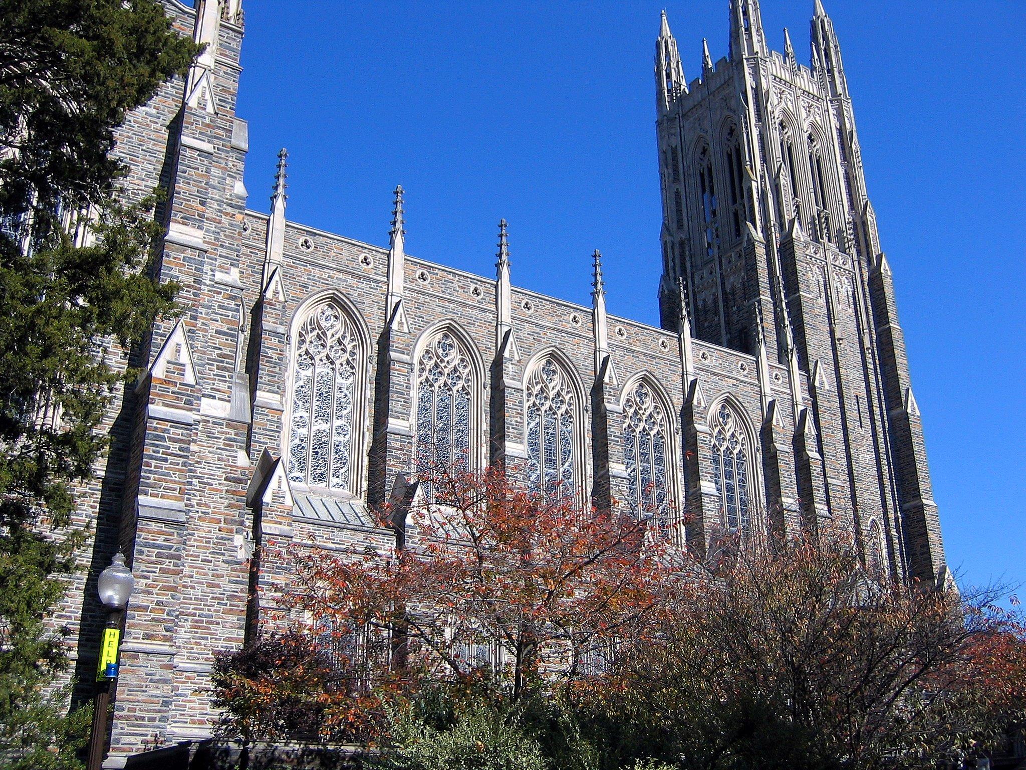 Side view of Duke University Chapel, Durham, North Carolina