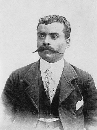Mexico revolutionary Emiliano Zapata, studio portrait perhaps in 1914. Wikipedia image