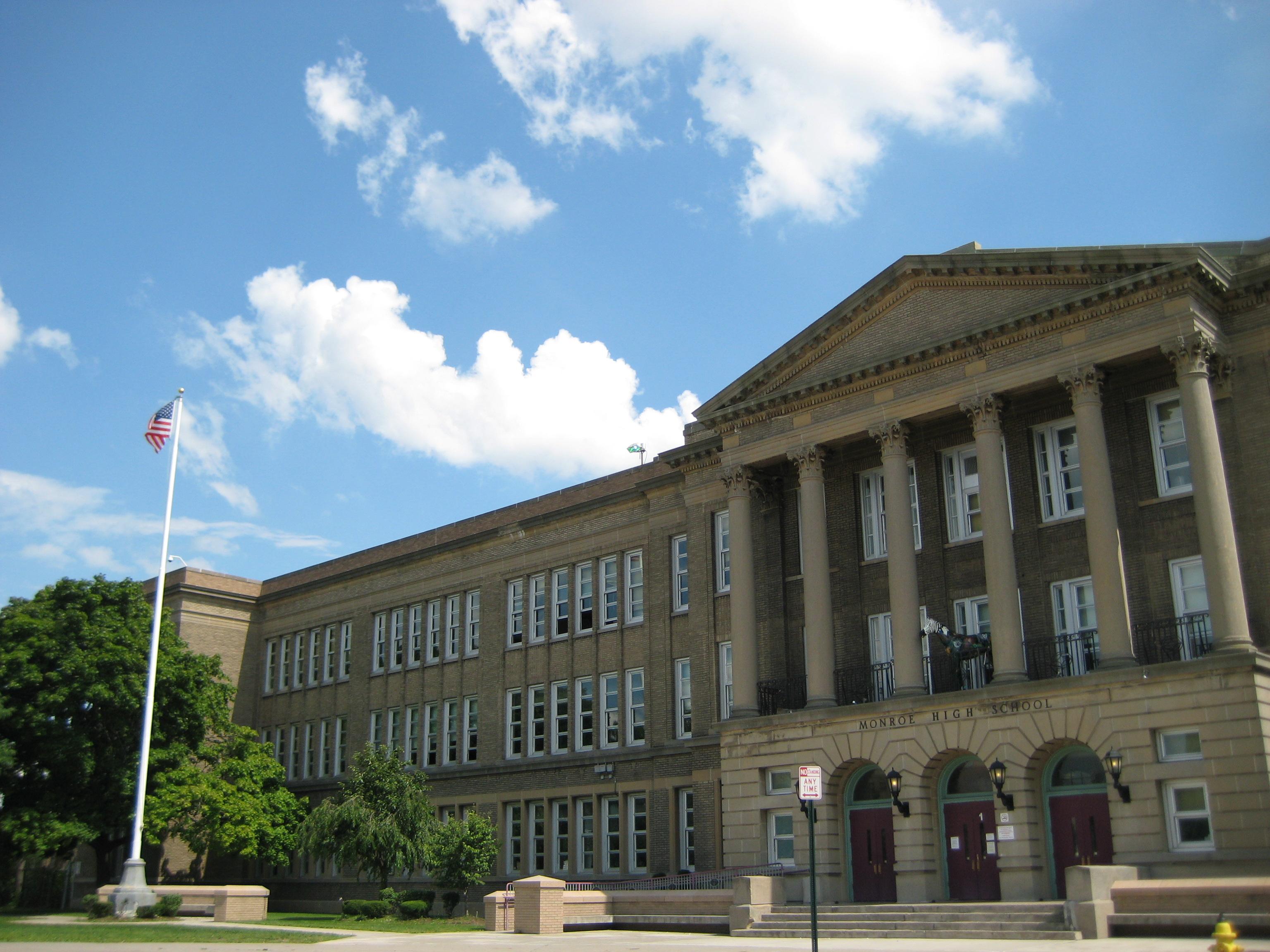 file front facade of james monroe high school rochester