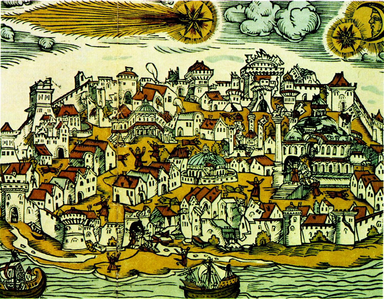 10 Mayıs 1556 tarihli depremin İstanbul'da yarattığı hasarı gösteren bu  gravür, aynı yıl, Nürenberg'de bir gazetede basılmıştı. İnsanlar kaçışmakta  ve deniz ...