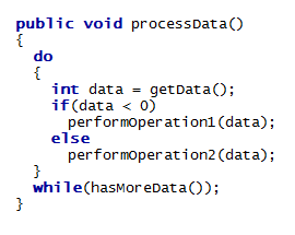 English: A snippet of code in the Java program...