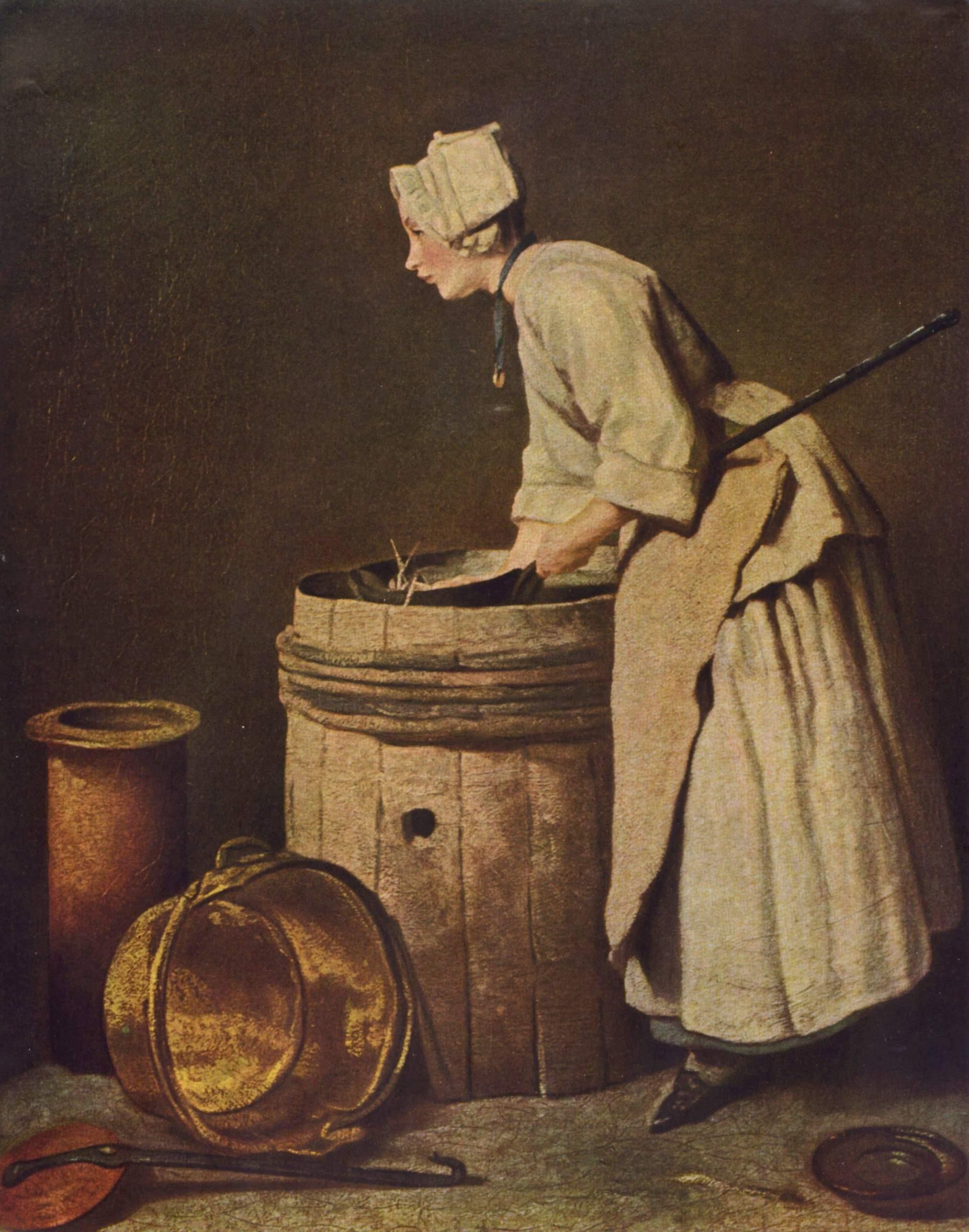 Jean-Baptiste Siméon Chardin, The Scullery Maid http://commons.wikimedia.org/wiki/File:Jean-Baptiste_Sim%C3%A9on_Chardin_020.jpg