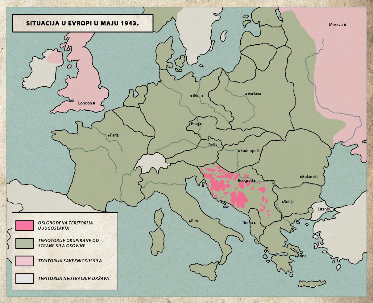 Partisan liberated territory in Yugoslavia, May 1943.