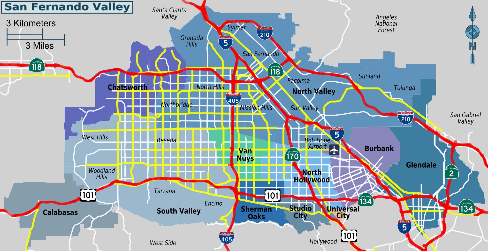Map Of Cities In San Fernando Valley Ca