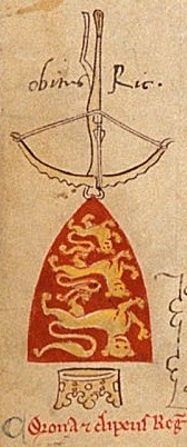 Inverted coat of arms of Richard, indicating his death, from a manuscript of Chronica Majora by Matthew Paris (13th century) Lvisrdce.jpg