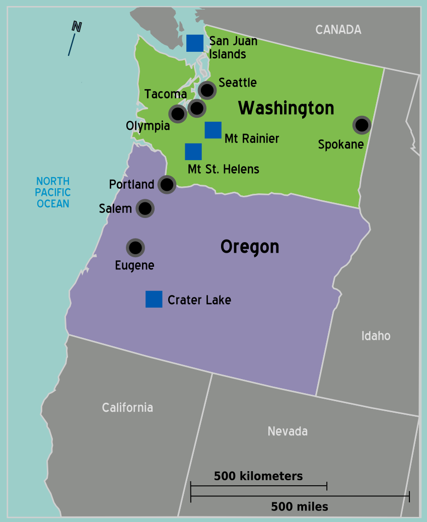 Pacific Northwest Travel Guide At Wikivoyage - Portland oregon on us map