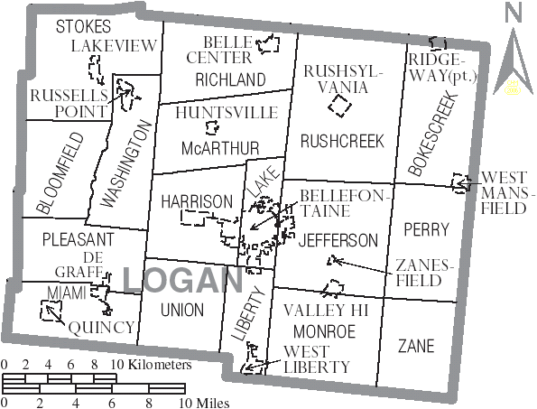 File Map Of Logan County Ohio With Municipal And Township Labels Png