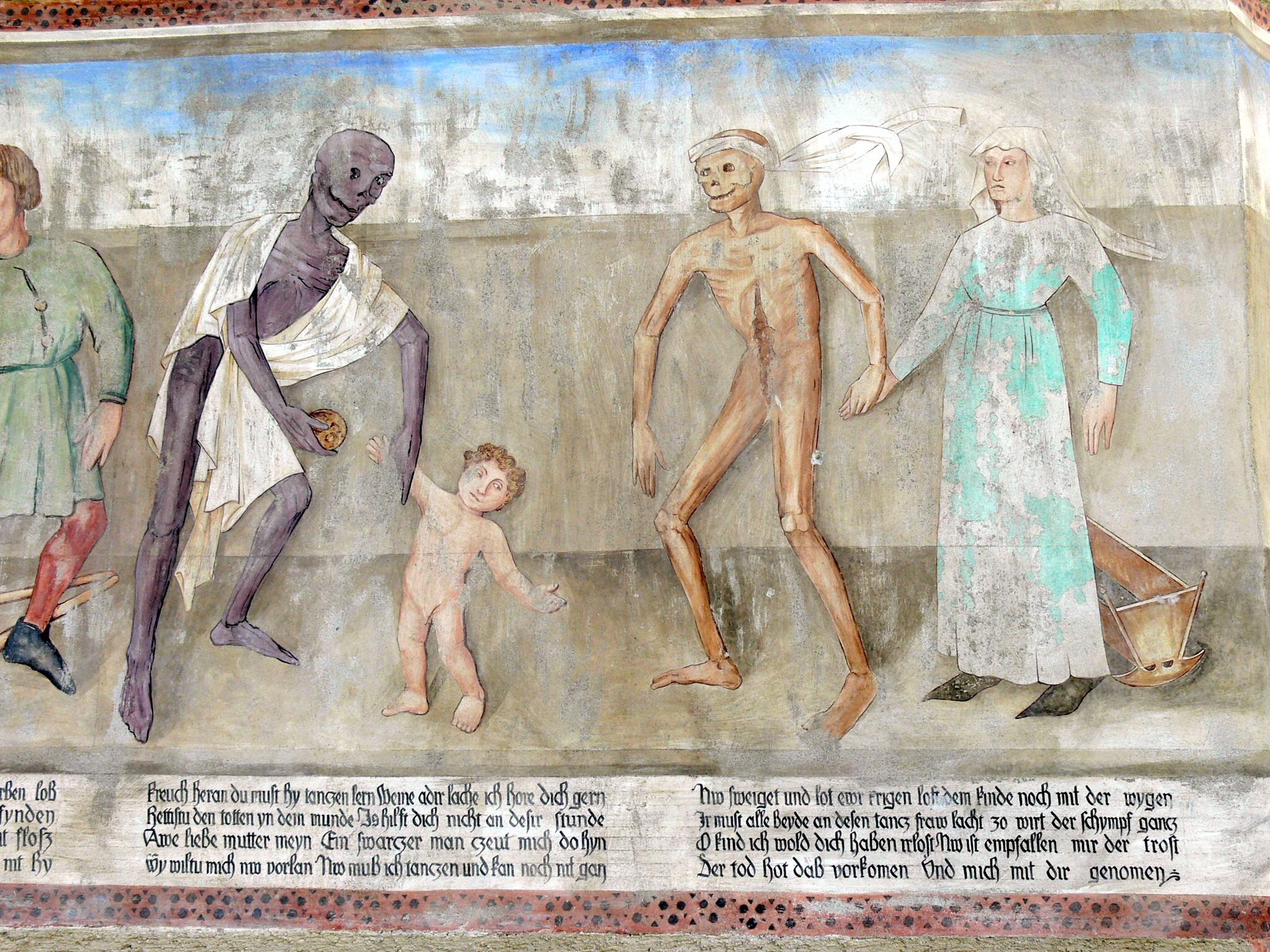 Das Leben ist kurz, hart und elend: Der Tod mit Mutter und Kind. (Quelle: wikicommons, User: Wolfgang Sauber)