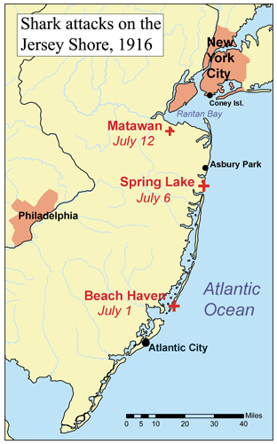 Carte des attaques de requins dans le New Jersey entre les 1er et 12 juillet 1916