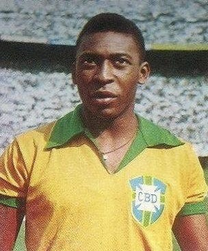 Pele is the all-time top scorer for Brazil with 77 goals Pele (1966).jpg