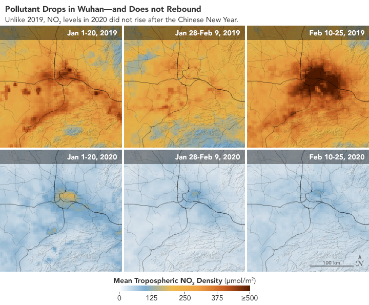 Pollutant drops in Wuhan, China during the Covid-19 pandemic