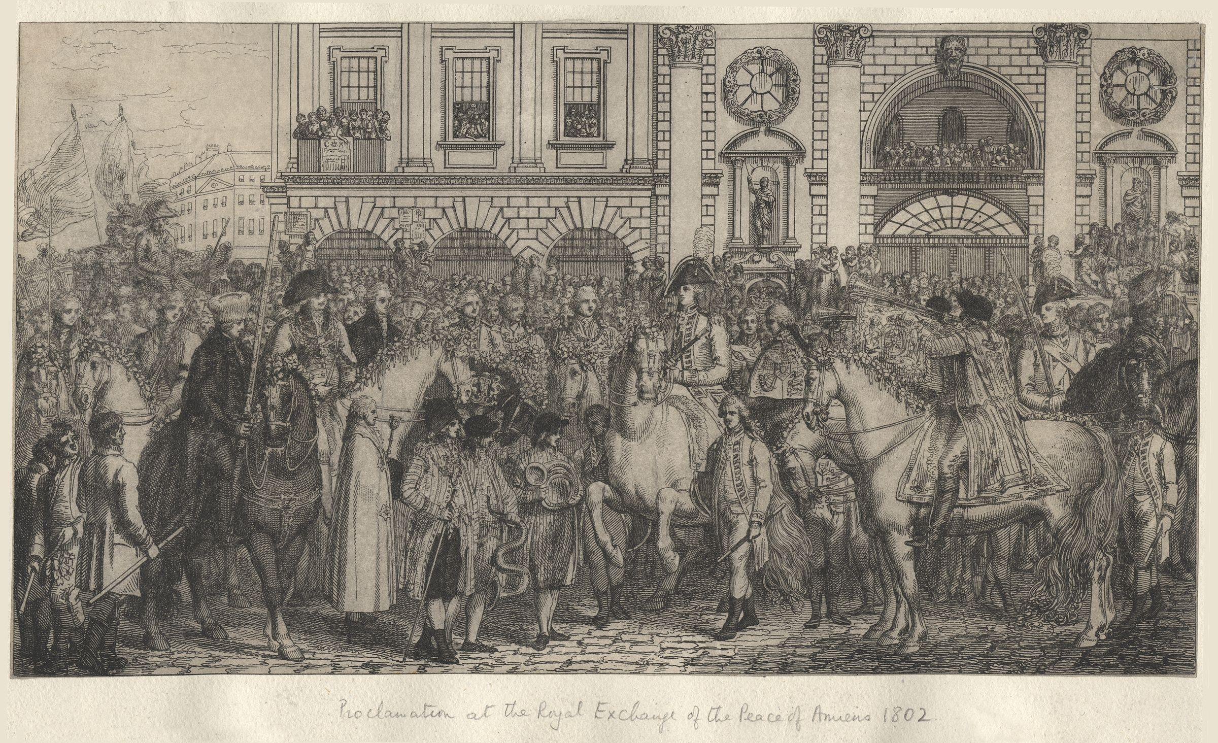 File:Proclamation at the Royal Exchange of the Peace of Amiens, 1802 by  Peltro William Tomkins.jpg