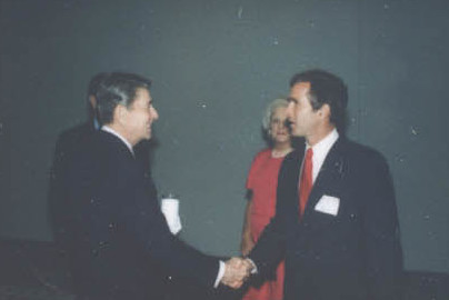 Bush greeting President Ronald Reagan in 1988