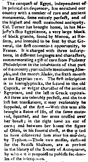 Report of the arrival of the Rosetta Stone in England in The Gentleman's Magazine, 1802 Rosetta news.jpg