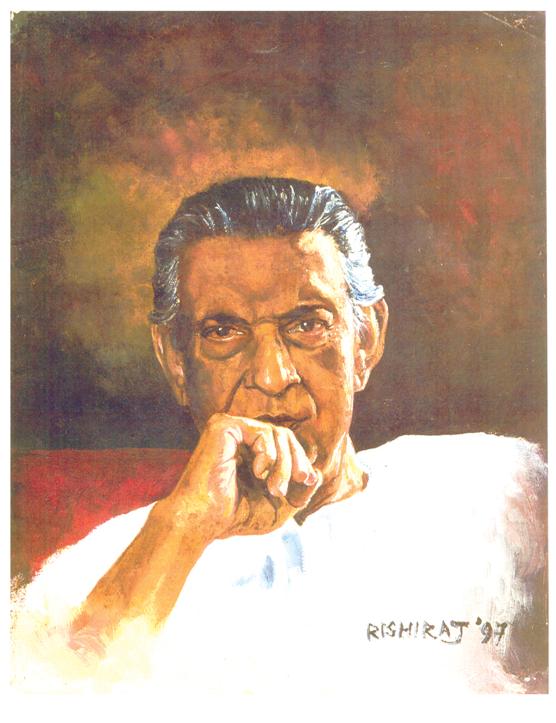 Potrait of Satyajit Ray, painted by Rishiraj Sahoo in 1997
