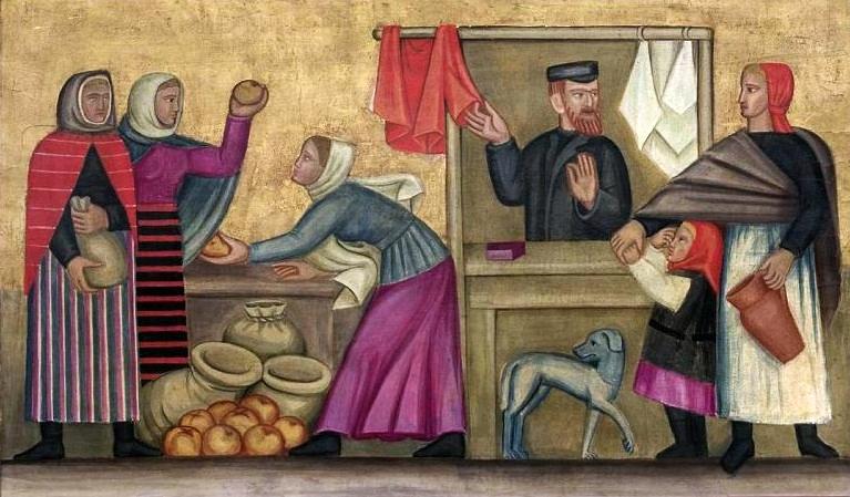 > Scène de marché en Pologne par Helena Schrammówna (1924).
