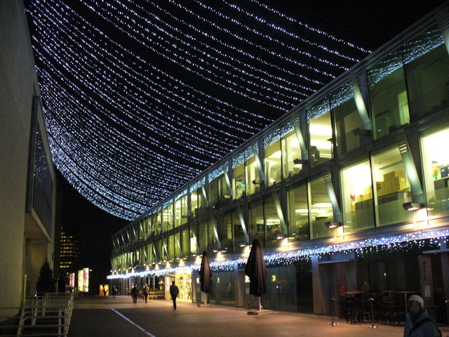 Festival Terrace, outside the Royal Festival Hall, is beautiful at night.