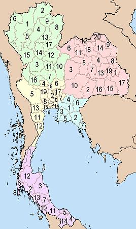 Mapa con la enumeración de las 76 provincias de Tailandia
