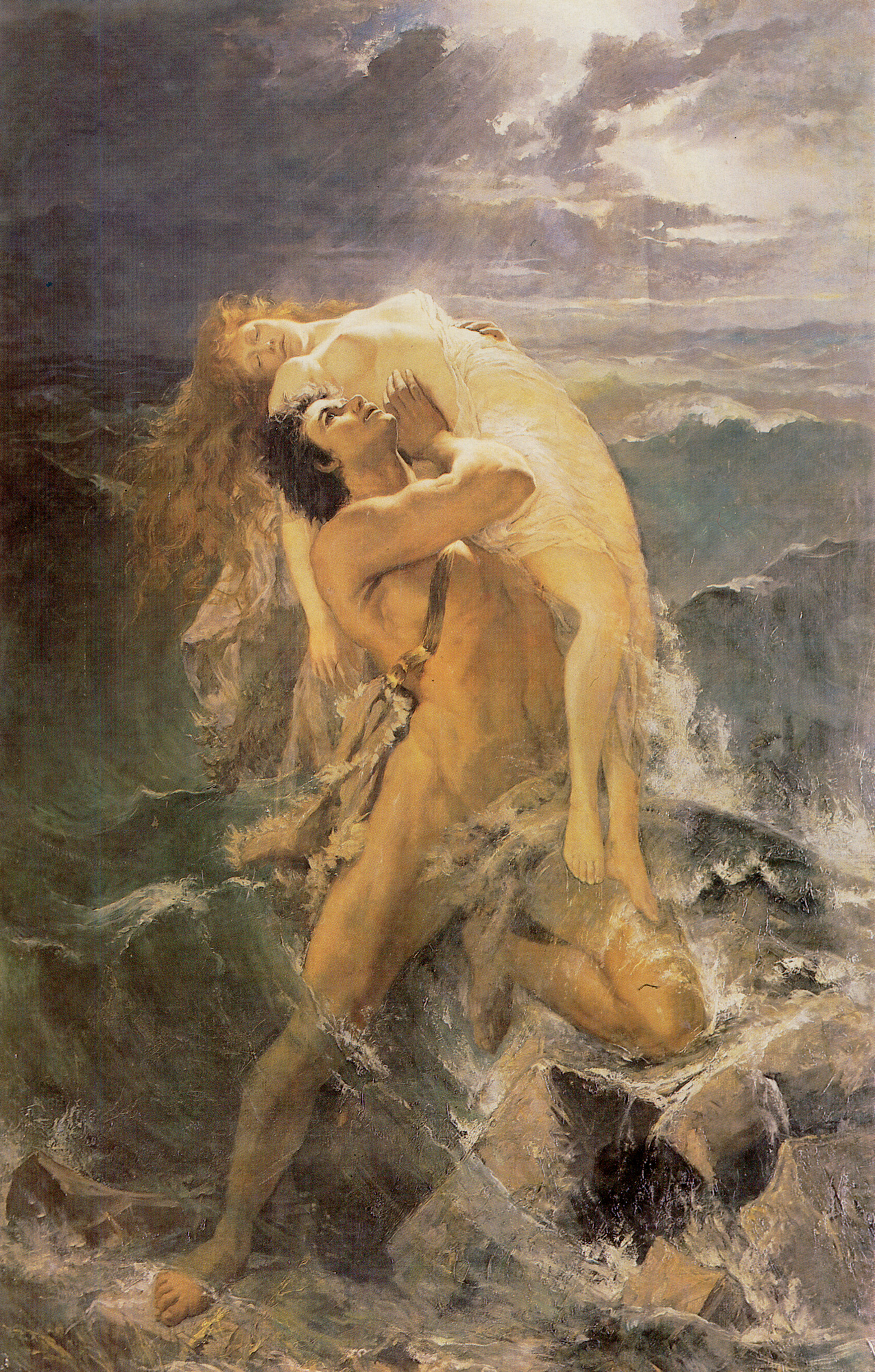Deucalion tenant sa femme hors des flots